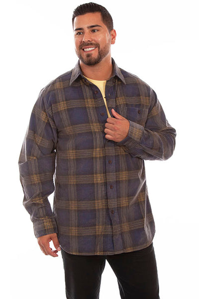 Farthest Point Collection Corduroy Plaid Navy Yellow Front