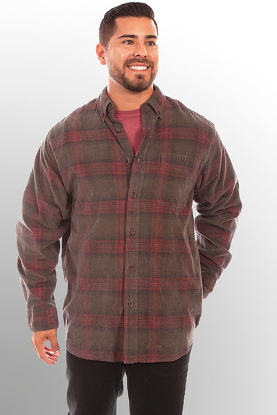 Farthest Point Collection Corduroy Plaid Rust Hunter Front