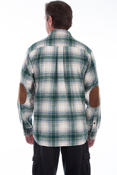 Farthest Point Corduory Plaid Green White Shirt Front