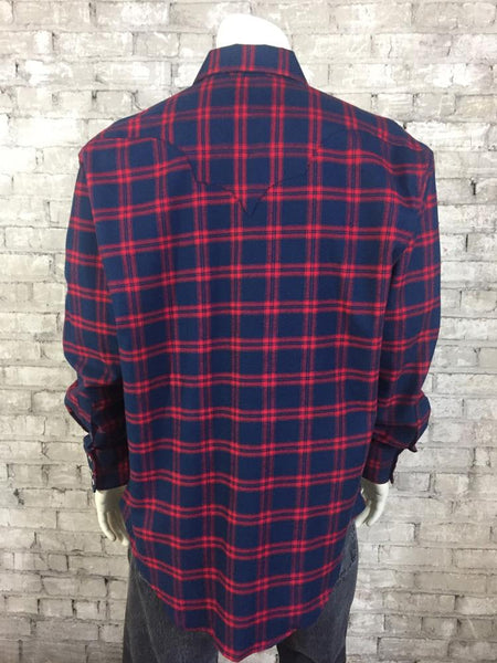 Rockmount Ranch Wear Men's Windowpane Plaid Navy Red Front