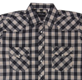 White Horse Apparel Men's Western Plaid Shirt Short Sleeve Black/Tan