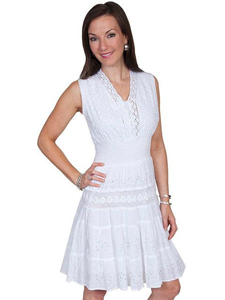 Scully Honey Creek Ladies' White Sleeveless Dress Front
