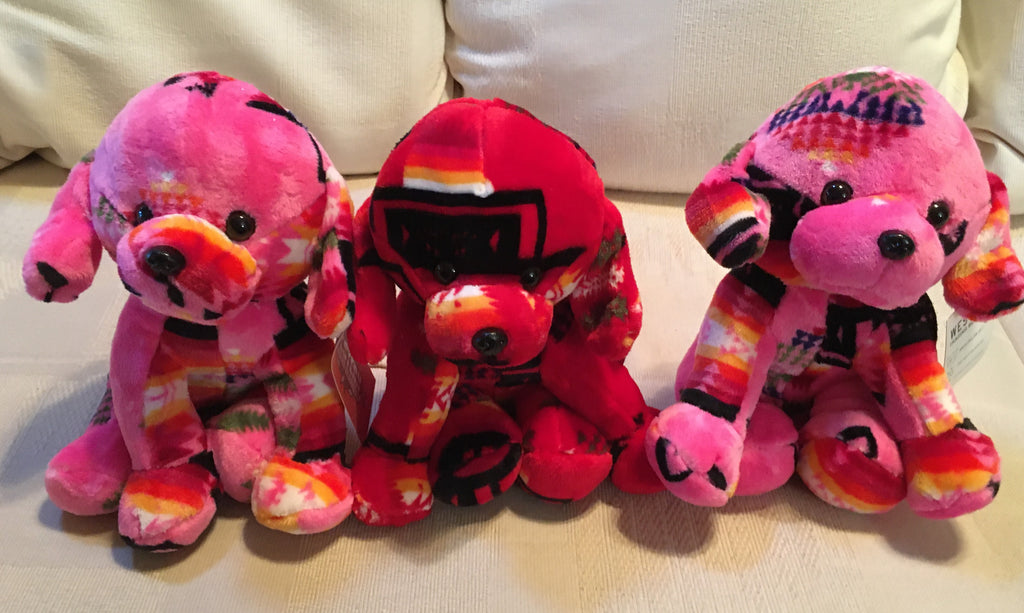 Plush Trio Puppies Pink and Red Front