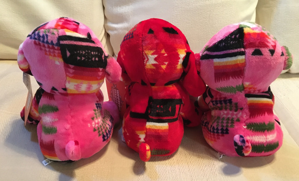Plush Trio Puppies Pink and Red Back
