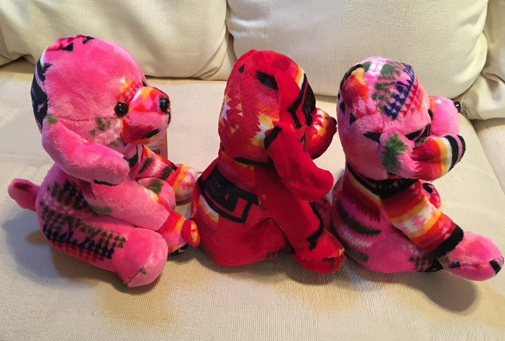 Plush Trio Puppies Pink and Red Side