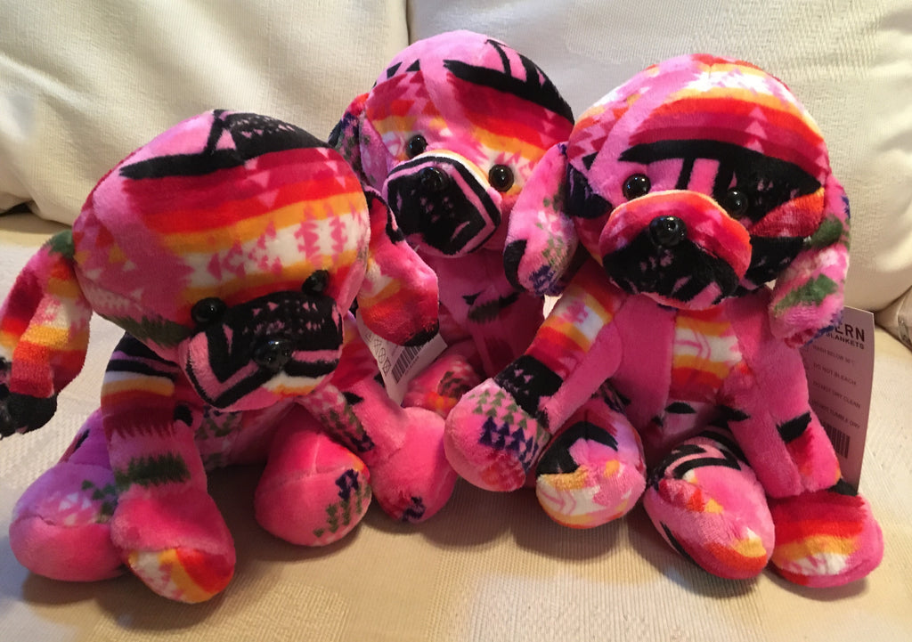 Plush Trio Puppies Pink with Pug Noses Front