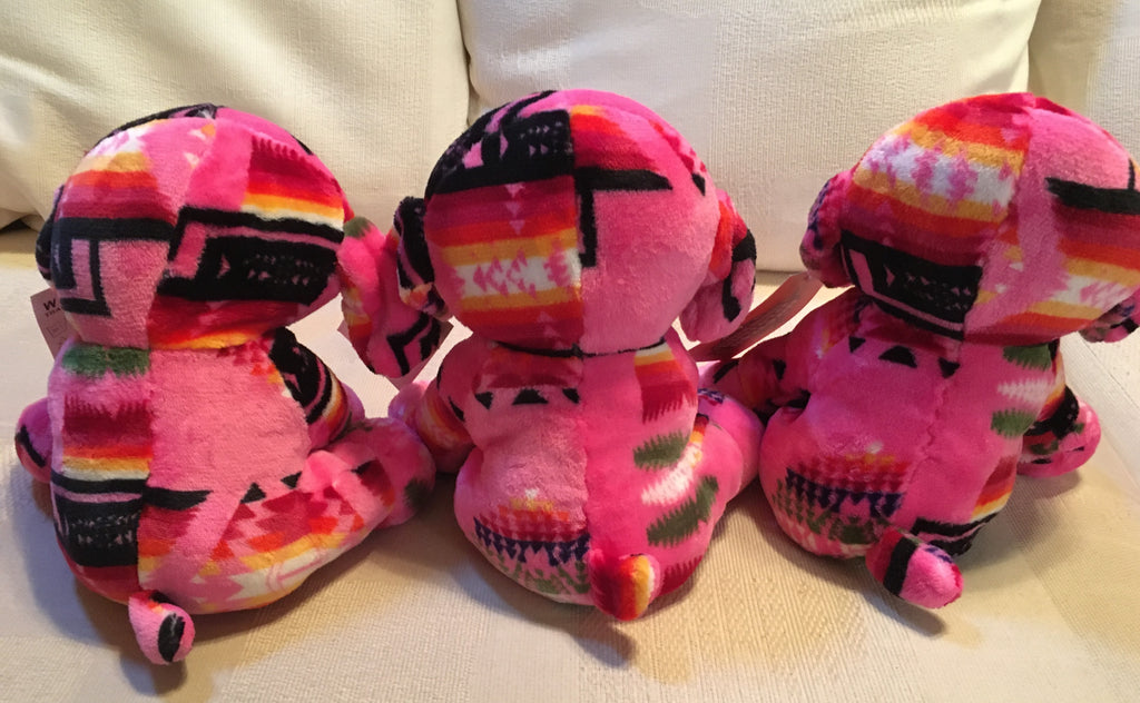 Plush Trio Puppies Pink with Pug Noses Back