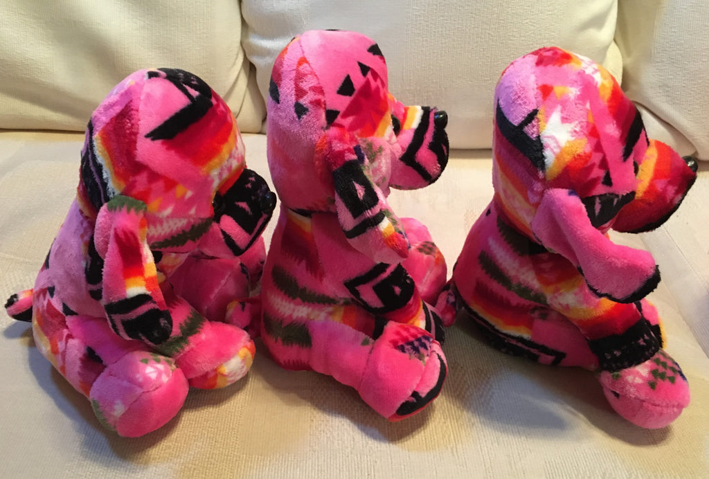 Plush Trio Puppies Pink with Pug Noses Side
