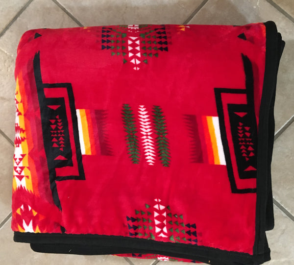 Plush Queen Size Blanket Native American Design