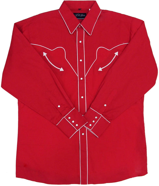 White Horse Apparel Men's Western Shirt Red with White Piping Front