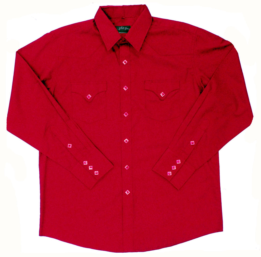 White Horse Apparel Men's Western Shirt Solid with Flap Pockets Red