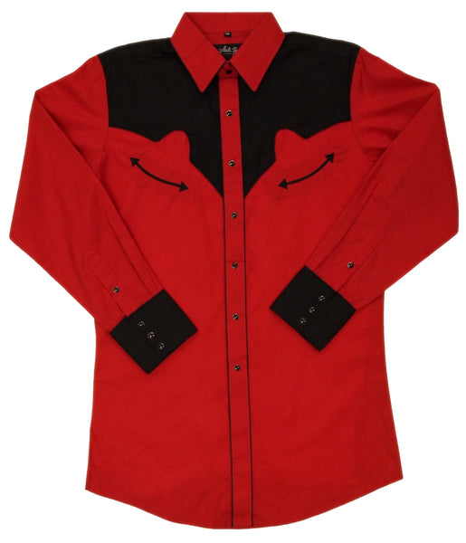 White Horse Apparel Men's Western Shirt Retro Red and Black