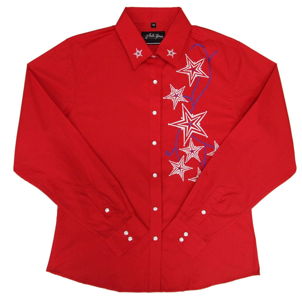 White Horse Apparel Women's Western Shirt with Star Burst Red
