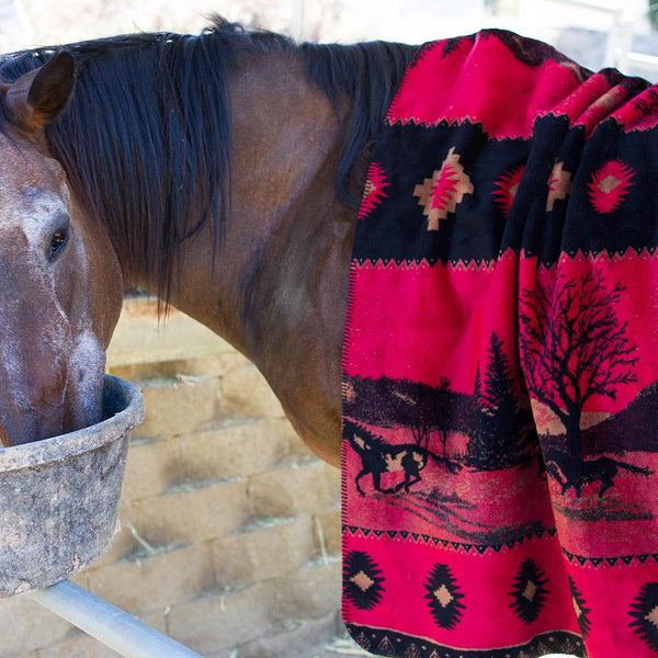 Denali Blankets Red Running Horses Blanket Throw Front