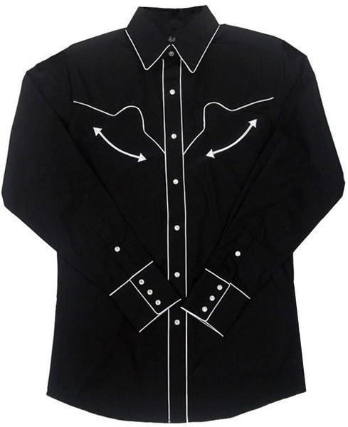 White Horse Apparel Women's Western Shirt Retro White Piping on Black