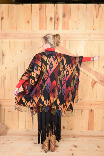 Rhonda Stark Italian Acrylic Knit Shawl Sunset Diamond Pattern with Fringe, Back