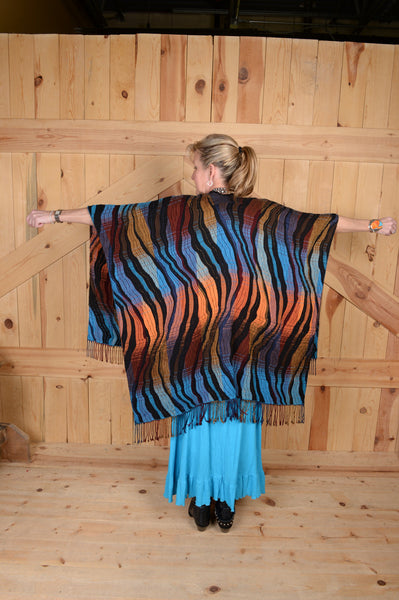 Rhonda Stark Italian Acrylic Knit Shawl Turquoise Wave Pattern with Fringe, Back