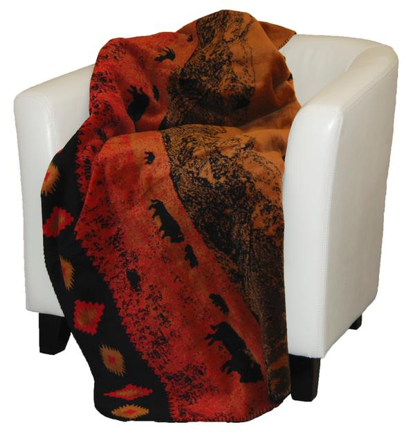 Denali Blankets Roaming Buffalo Throw Blanket Front on Chair