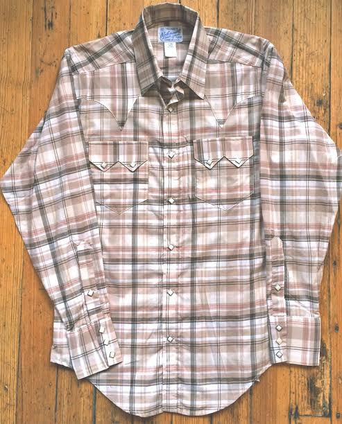Rockmount Ranch Wear Mens Shadow Plaid Brown White Front Flat