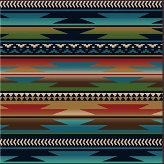 Rockmount Ranch Wear Home Fleece Blanket Serape Turquoise