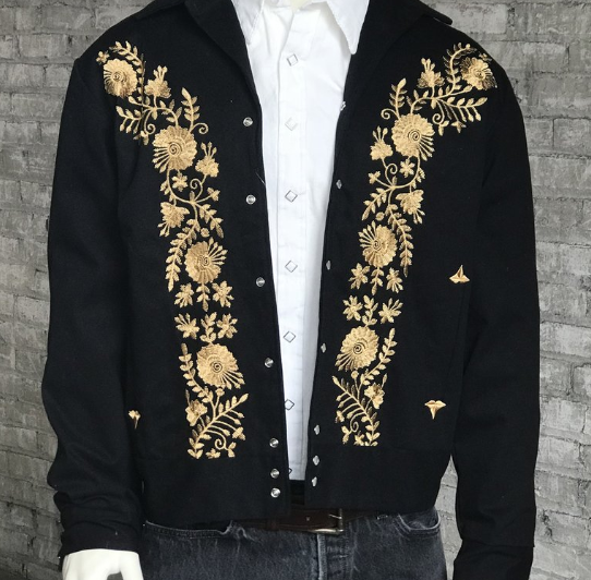 Rockmount Ranch Wear Mens Bolero Gold Floral Embroidery Front