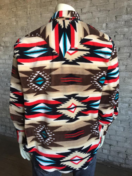 Men's Rockmount Native American Design Fleece Brown Front