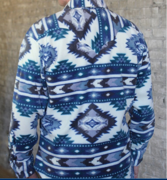 Men's Rockmount Ranch Wear Fleece Native American Design Blue Back