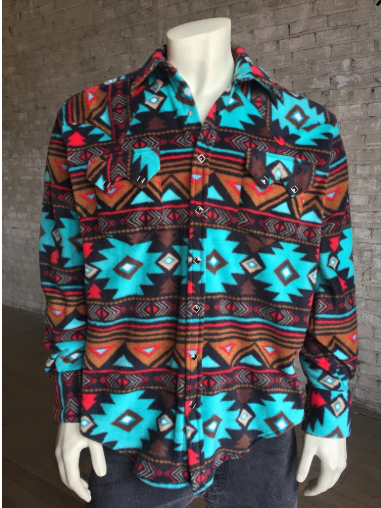 Men's Rockmount Fleece Native American Design Shirt Brown Turquoise Front