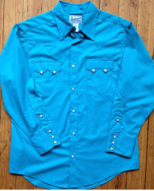 Rockmount Ranch Wear Mens Western Slim Fit Shirt Turquoise Front