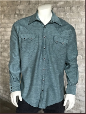 Rockmount Ranch Wear Men's Western Shirt Chambray Green Front Untucked