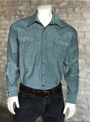 Rockmount Ranch Wear Men's Western Shirt Chambray Green Front