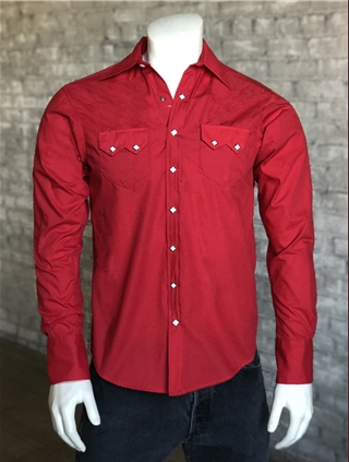 Rockmount Ranch Wear Mens Western Slim Fit Shirt Red Front