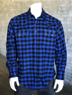 Men's Rockmount Ranch Wear Flannel Check Blue Black Front Untucked