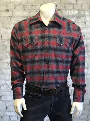 Rockmount Ranch Wear Men's Flannel Plaid Red Grey Front #170647D