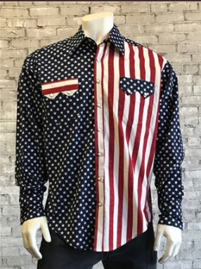 Vintage Inspired Western Shirt: Mens Rockmount Flag Print Front on Model