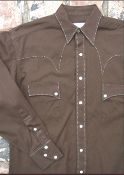 Rockmount Ranch Wear Men's Vintage Western Shirt Saddle Stitch Brown Front
