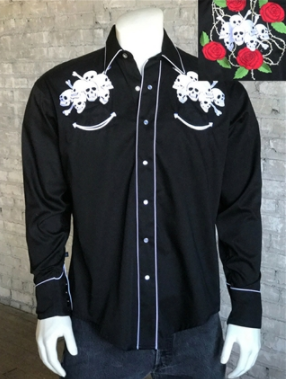 Rockmount Ranch Wear Mens Vintage Western Shirt 7 Lucky Skulls Front on Mannequin