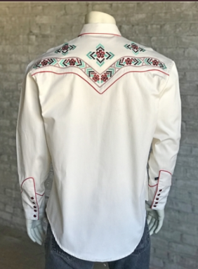 Men's Rockmount Ranch Wear Vintage Western Shirt Native American Fancy Floral Front Tucked