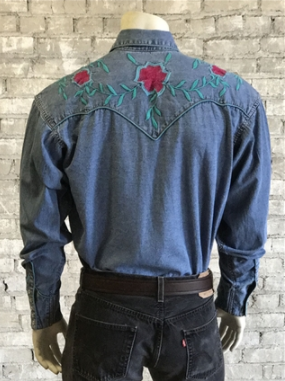 Rockmount Ranch Wear Men's Denim Shirt Teal Embroidery Back