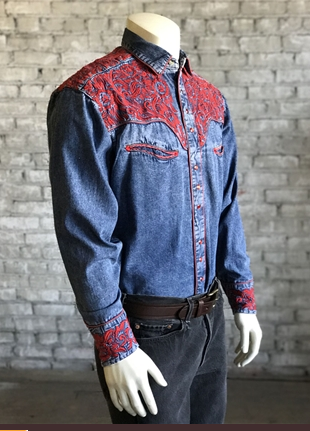 846a196ff75 ... Rockmount Ranch Wear Mens Western Denim Shirt with Red Embroidery Side  ...