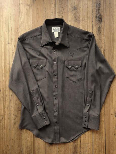Rockmount Ranch Wear Mens Western Dress Shirt Herringbone Brown Front