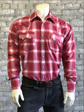 Rockmount Ranch Wear Mens Western Shirt Shadow Plaid Red Front Tucked