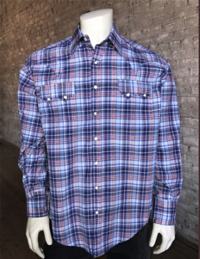Rockmount Ranch Wear Mens Plaid Shirt Blue Front Untucked
