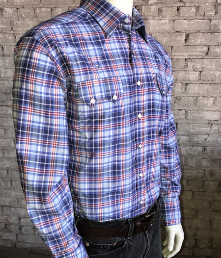 Rockmount Ranch Wear Mens Plaid Shirt Blue Side Tucked