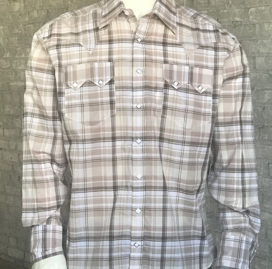 Rockmount Ranch Wear Mens Shadow Plaid Brown White Front