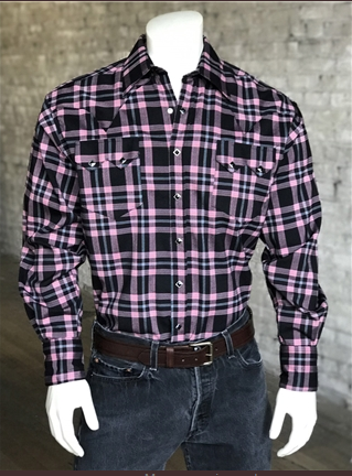 Rockmount Ranch Wear Men's Western Shirt Black Pink Plaid Front Tucked