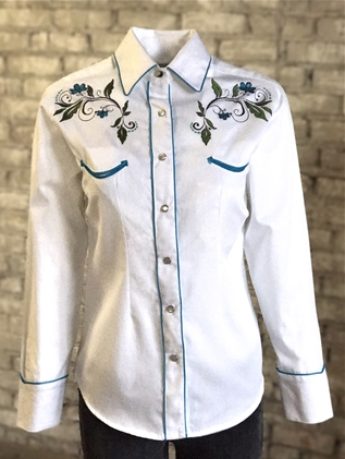 Rockmount Ranch Wear Womens Vintage Western Fancy Shirt Fine Floral Front on Mannequin