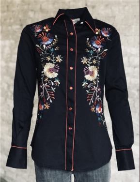 Rockmount Ranch Wear Ladies' Vintage Inspired Western Shirt Floral Embroidery on Black Front
