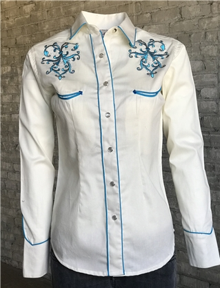 Rockmount Ranch Wear Ladies Vintage Western Shirt Scroll and Rhinestones Ivory Front