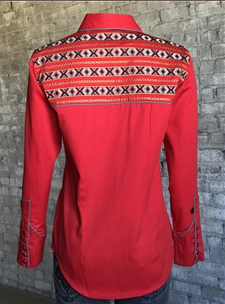 Rockmount Ranch Wear Ladies Vintage Western Shirt Native Inspired Embroidery Red Back